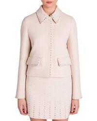 Miu Miu - Jewel-trim Cropped Wool Jacket - Lyst