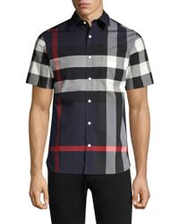 Burberry - Giant Exploded Check Core Stretch Short-sleeve Woven Shirt - Lyst