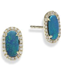 Meira T - Diamond & Opal Stud Earrings - Lyst