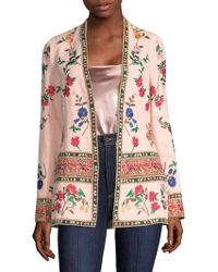 Alice + Olivia - Jerri Embroidered Open Front Blazer - Lyst