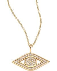 Sydney Evan - Small Pave Evil Eye Diamond & 14k Yellow Gold Pendant Necklace - Lyst