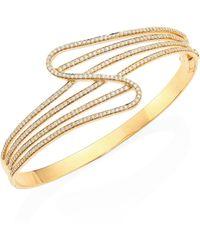 Hueb | Wave Diamond & 18k Yellow Gold Bangle Bracelet | Lyst