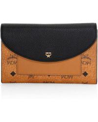 MCM - Visetos Logo Leather Flap Wallet - Lyst