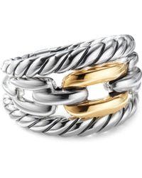 David Yurman - Wellesley 18k Yellow Gold & Sterling Silver Chain Ring - Lyst