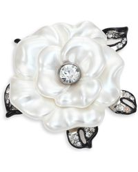 Kenneth Jay Lane - Faux-pearl Flower Pin - Lyst