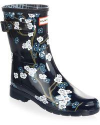 HUNTER - Floral Rubber Rain Boots - Lyst