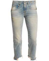 R13 - Washed Straight Leg Jeans - Lyst