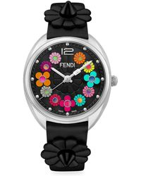Fendi - Momento Flowerland Stainless Steel Leather Strap Watch - Lyst