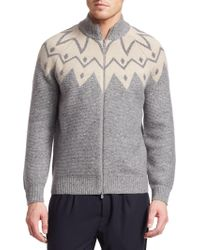 Brunello Cucinelli - Jacquard Full-zip Cashmere Sweater - Lyst