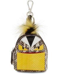 Fendi | Mini Monster Snakeskin & Fur Backpack Key Charm | Lyst