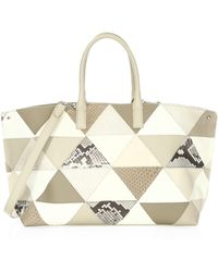 Akris - Leather Mixed Media Snakeskin Patchwork Tote - Lyst
