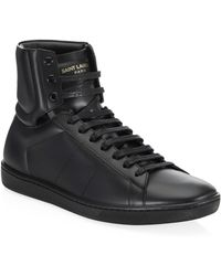 Saint Laurent - Leather High-top Sneakers - Lyst