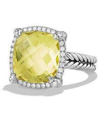 David Yurman - Châtelaine Pave Bezel Ring With Gemstone And Diamonds - Lyst