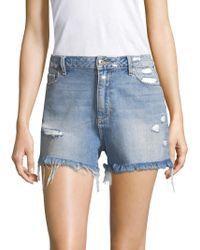 PAIGE - Babes Distressed Denim Shorts - Lyst