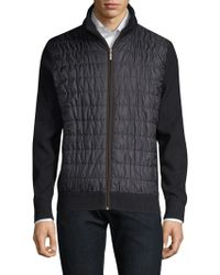 Bugatti - Quilted Sweater Bomber Jacket - Lyst