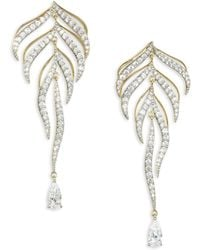 Adriana Orsini - Pirouette Goldtone Crystal Leaf Drop Earrings - Lyst