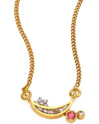 Shana Gulati - Kolar Diamond & Pink Tourmaline Pendant Necklace - Lyst