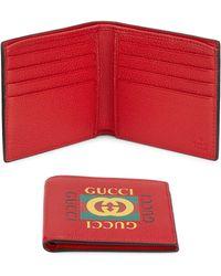 62935edc51bde6 Gucci Logo Money Clip Billfold Wallet in Blue for Men - Lyst