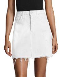 AMO - Gemma Frayed Denim Skirt - Lyst