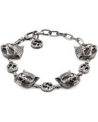 Gucci - Sterling Silver Feline Head Charm Bracelet - Lyst