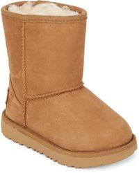 UGG - Kid's Classic Short Faux Fur Lined & Leather Boots - Lyst
