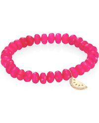 Sydney Evan - Diamond, Hot Pink Chalcedony & 14k Yellow Gold Beaded Bracelet - Lyst