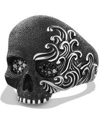 David Yurman - 'waves' Large Skull Ring With Black Diamonds - Lyst