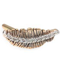 Kismet by Milka - Diamond & 14k Rose Gold Feather Single Stud Earring - Lyst