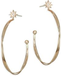 Anzie - Aztec North Star Diamond & Gold Medium Hoops - Lyst