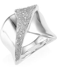 Ippolita - Stardust Sterling Silver & Diamond Folded Pave Ribbon Ring - Lyst