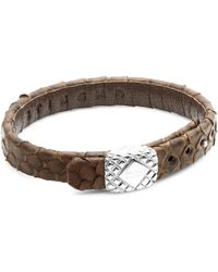 Stinghd - Silver Square And Leather Bracelet - Lyst