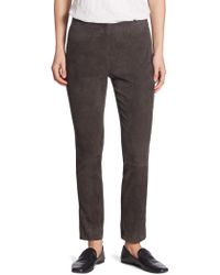 Vince - Stretch Suede Cropped Pants - Lyst
