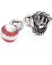 Saks Fifth Avenue - Rhodium-plated Glove And Baseball Cuff Links - Lyst