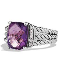 David Yurman Petite Wheaton Ring With Diamonds - Purple