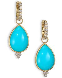 Jude Frances - Classic Turquoise, Diamond & 18k Yellow Gold Large Pear Earring Charms - Lyst
