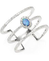 Meira T - Pave Diamond, Opal & 14k White Gold Organic Ring - Lyst
