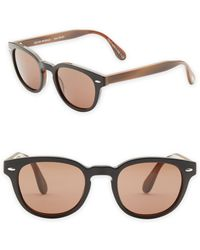 Oliver Peoples - Sheldrake Leather 47mm Sunglasses - Lyst