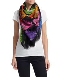 c26058be1d9d Lyst - Givenchy Panther Printed Silk Square Scarf in Green