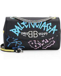 Balenciaga - Graffiti Logo Leather Charm Shoulder Bag - Lyst
