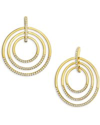 Carelle - Large Moderne Diamond & 18k Yellow Gold Trio Earrings - Lyst