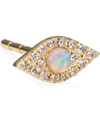EF Collection - Diamond, Jumbo Opal & 14k Yellow Gold Evil Eye Single Stud Earring - Lyst