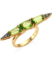 Etho Maria - Sharp Green Sapphire And Peridot 18k Gold Ring - Lyst