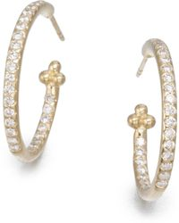 Temple St. Clair | Classic Diamond & 18k Yellow Gold Hoop Earrings/0.7 | Lyst