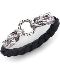 John Hardy - Naga Sterling Silver & Leather Dragon Woven Bracelet/black - Lyst