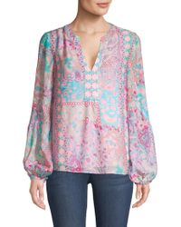 Nanette Lepore - Patchwork Printed Chiffon Tunic - Lyst