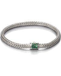 John Hardy - Classic Chain Tsavorite & Sterling Silver Extra-small Bracelet - Lyst
