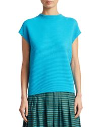 Akris Punto - Cap Sleeve Stand Collar Knit - Lyst