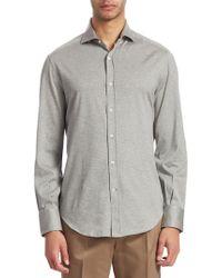 Brunello Cucinelli - Men's Full Collar Jersey Button-down - White - Lyst