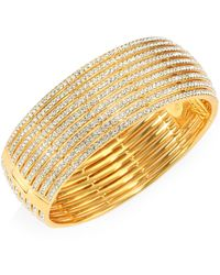 Adriana Orsini - Crystal-striped Hinge Bangle - Lyst