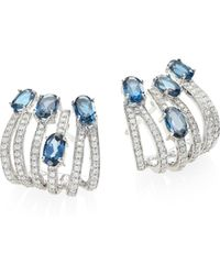 Hueb | Rainbow Diamond, London Blue Topaz & 18k White Gold Ear Cuffs | Lyst